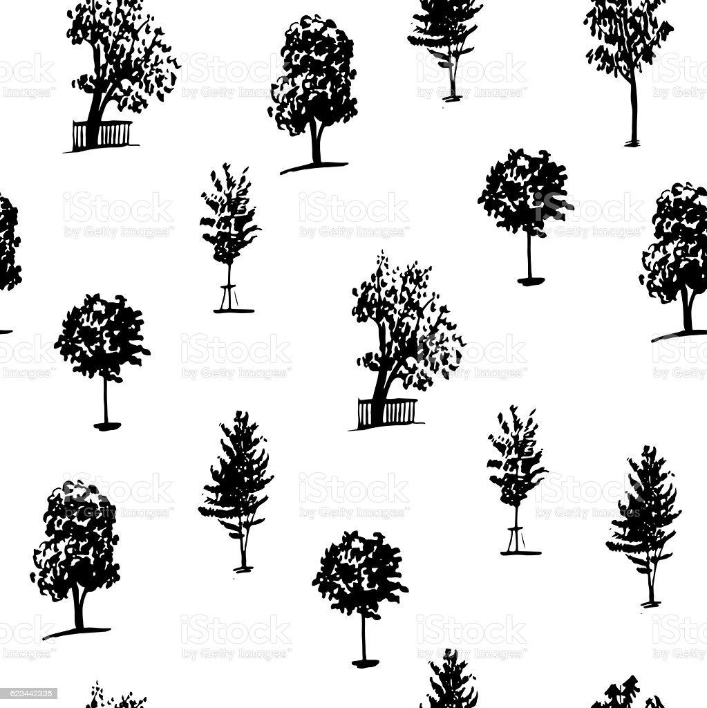 seamless pattern of trees hand drawn vector illustration vector art illustration
