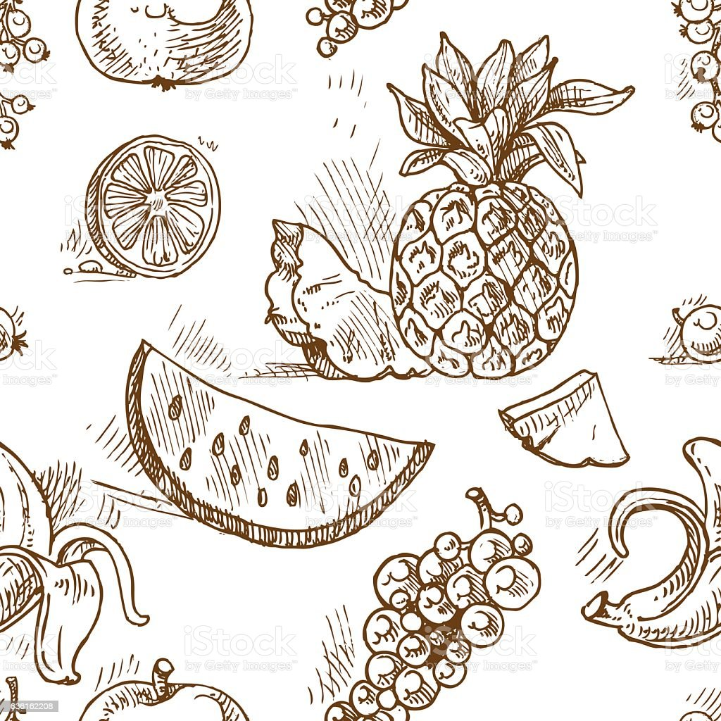 Seamless pattern of tropical fruit doodles vector art illustration