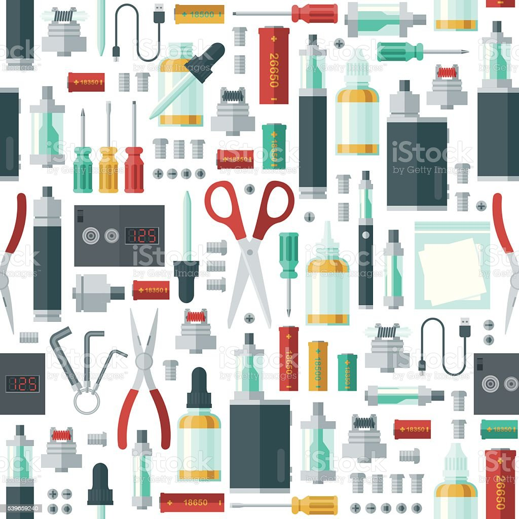 Seamless Pattern of Various E-Cigarette and Vaping Icons vector art illustration