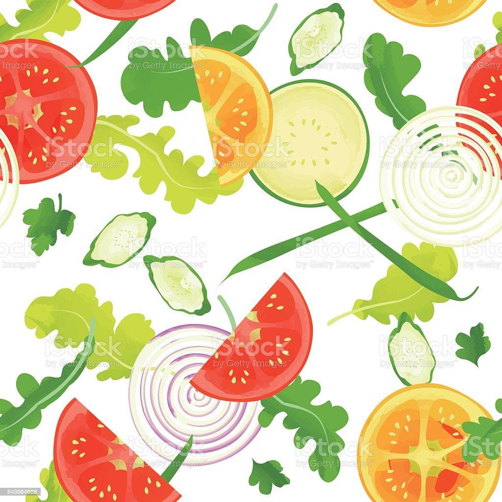 seamless pattern of vegetables vector art illustration