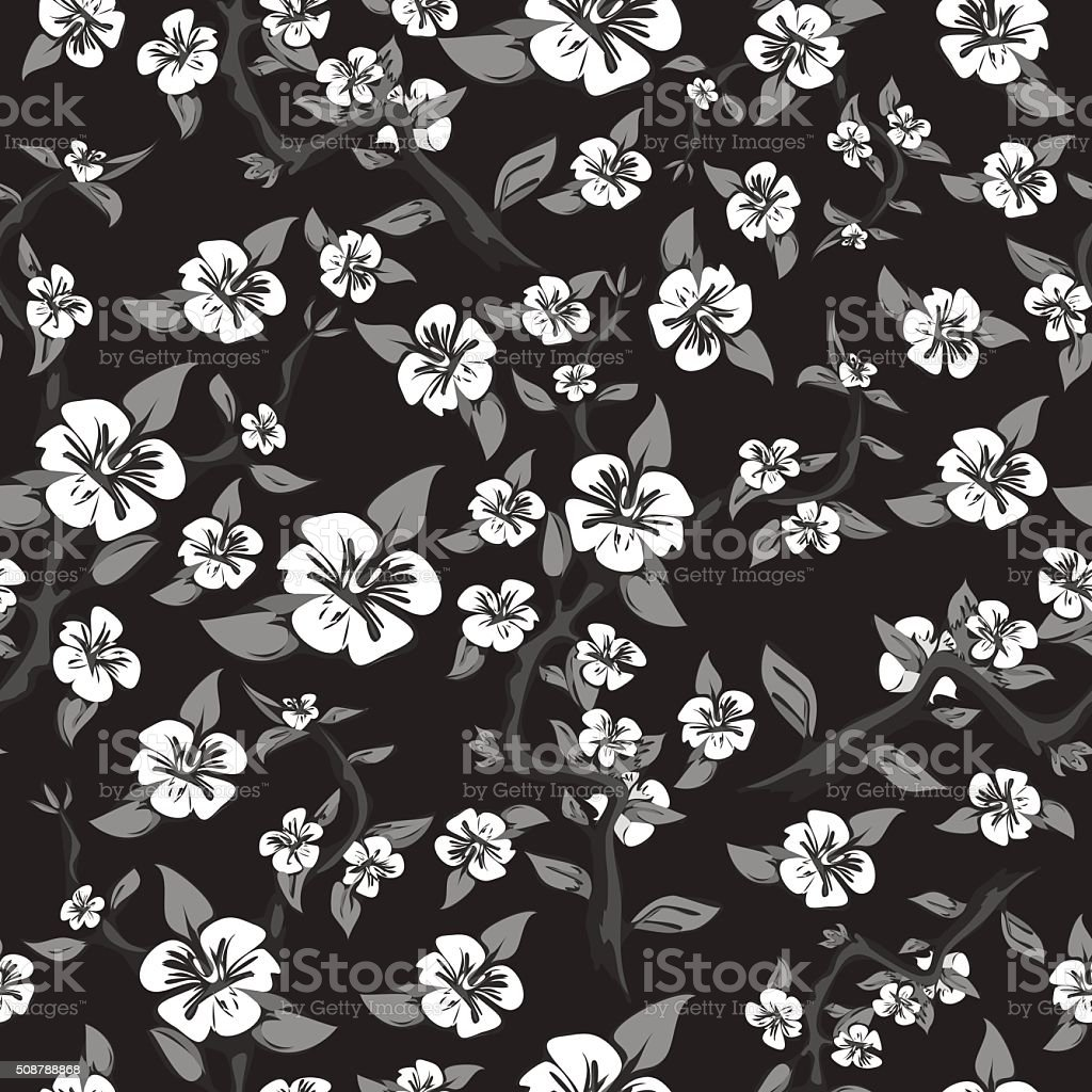 Seamless pattern of white flowers on a black background royalty-free stock vector art