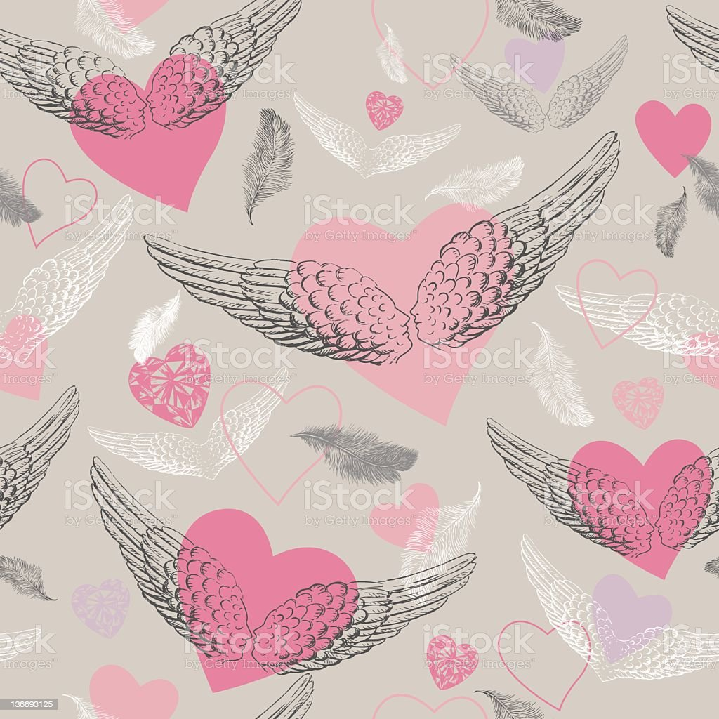 Seamless pattern of wings royalty-free stock vector art