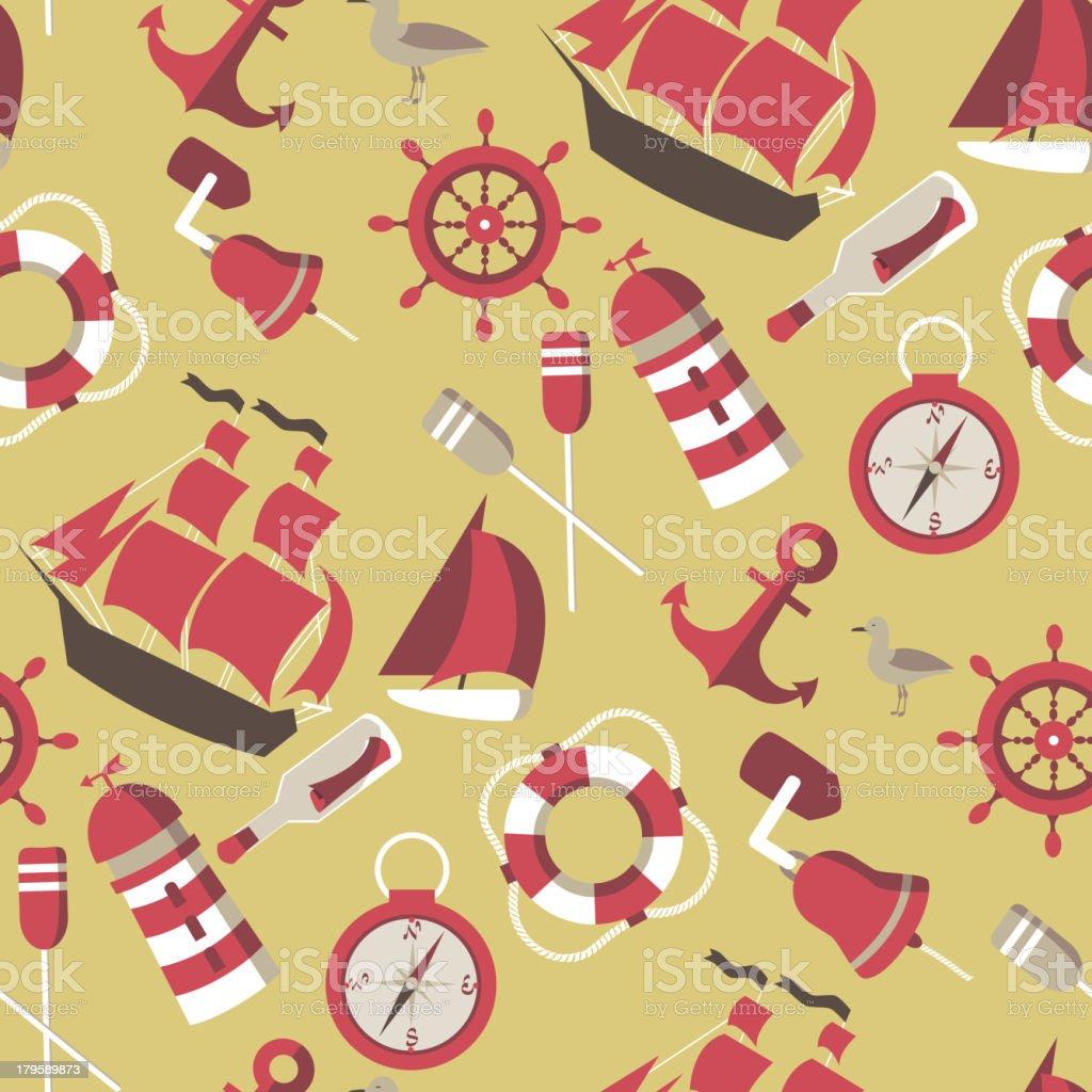 seamless Pattern on the marine theme royalty-free stock vector art