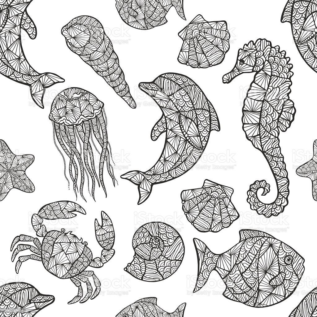 Seamless pattern on the marine theme. vector art illustration