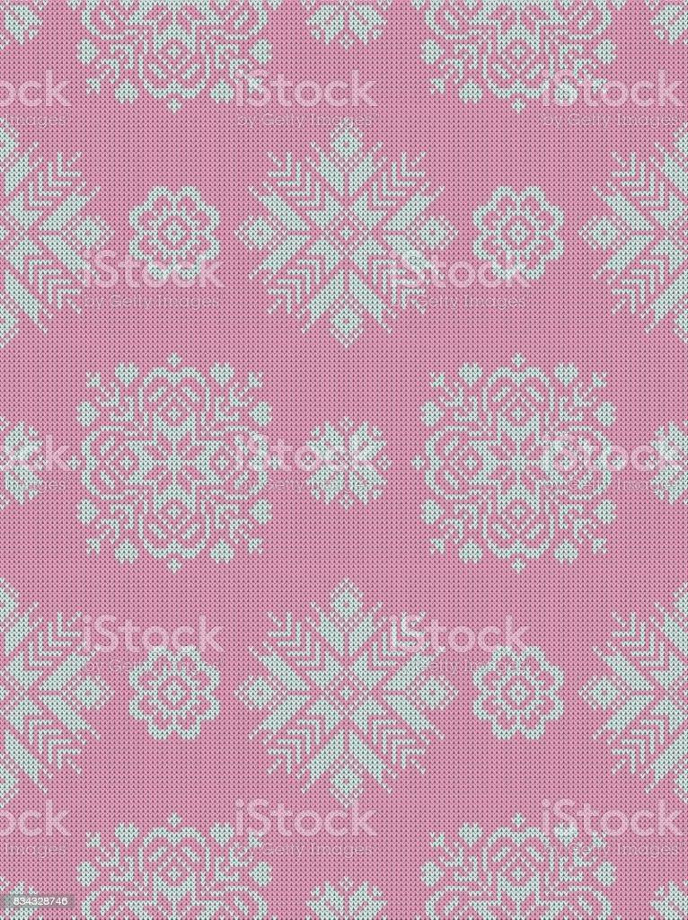 Seamless pattern on the theme of the winter holidays with a picture of the Norwegian patterns and snowflakes. Wool knitted texture. Vector Illustration. vector art illustration