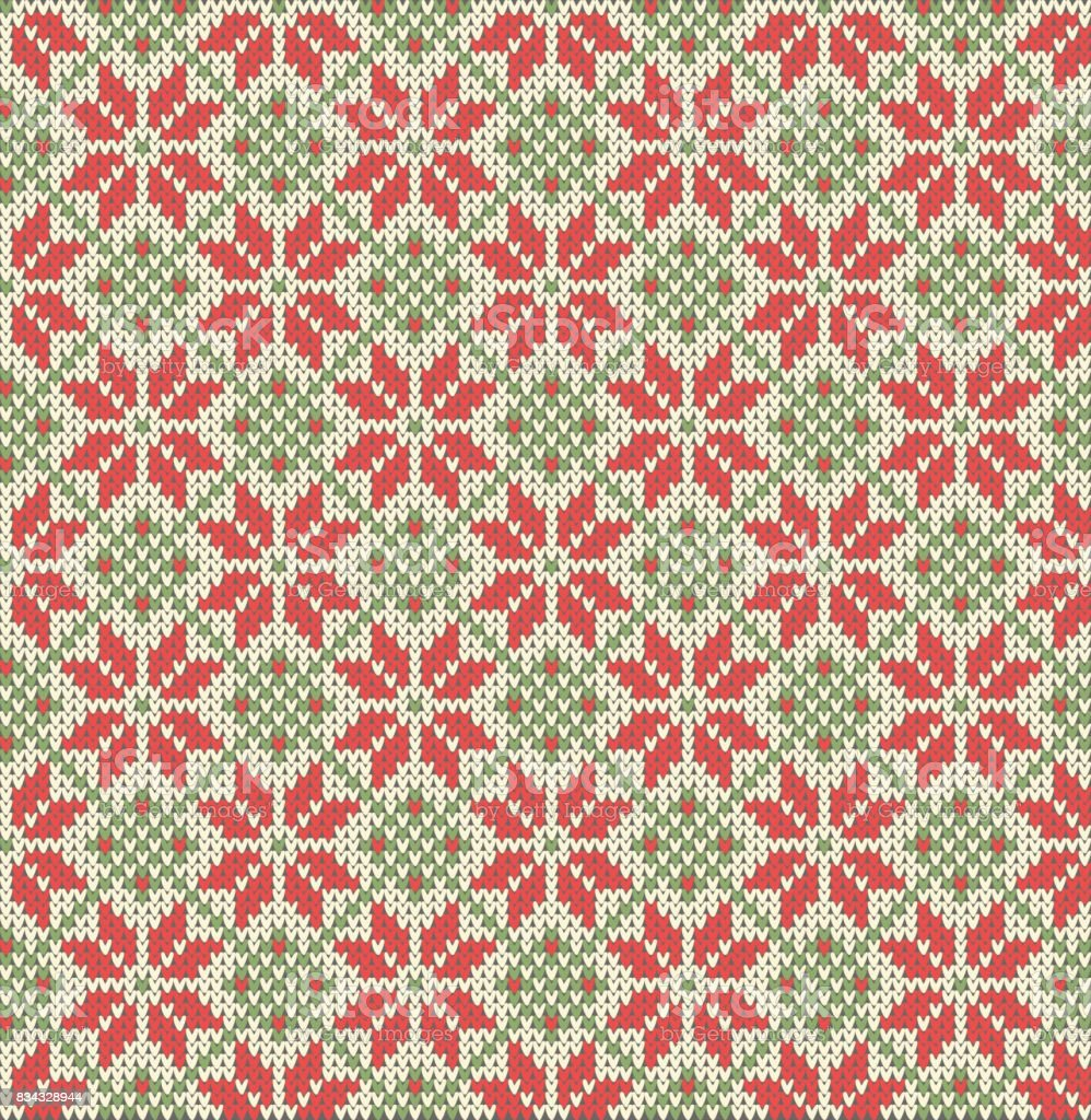 Seamless pattern on the theme of the winter holidays with a picture of the Norwegian patterns and snowflakes. Wool knitted texture. Vector Illustration vector art illustration