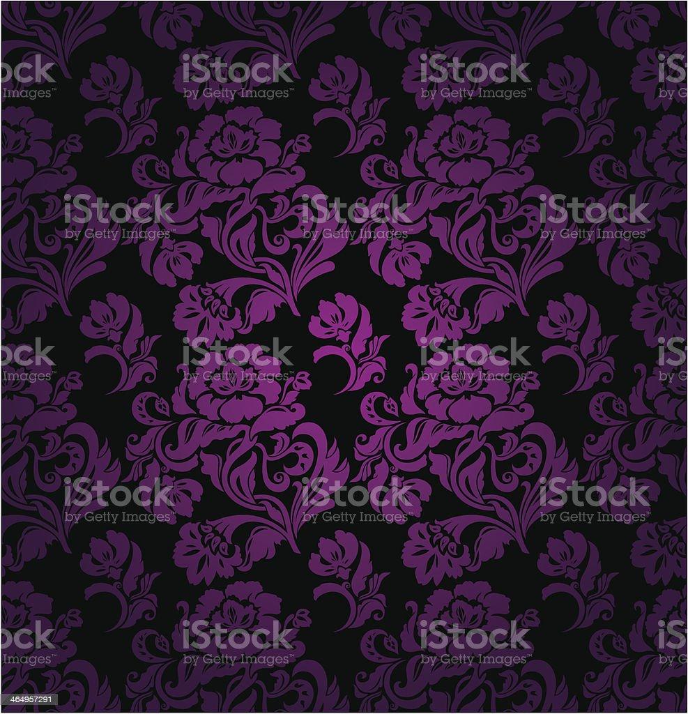 Бесшовный узор, сиреневый с цветочным орнаментом фон векторная иллюстрация
