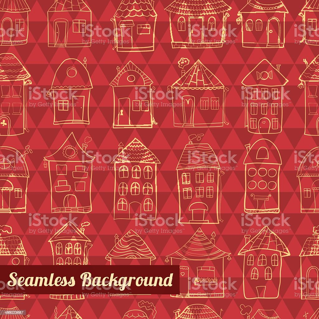 Seamless pattern outline cute houses royalty-free stock vector art
