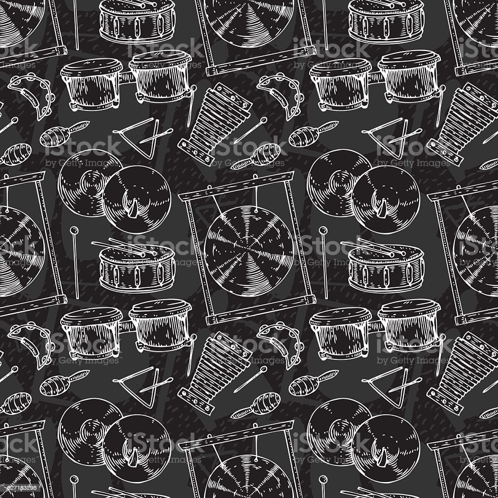 Seamless Pattern. Percussion Musical Instruments vector art illustration