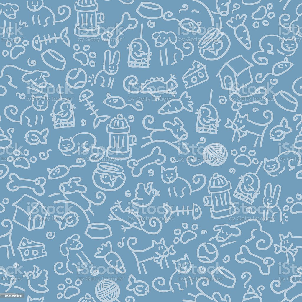 seamless pattern: pets vector art illustration