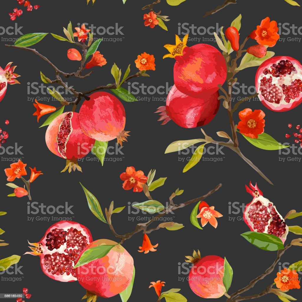 Seamless Pattern. Pomegranate Tropical Background. Floral Pattern vector art illustration