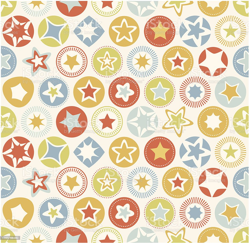 Seamless Pattern - Retro Stars vector art illustration
