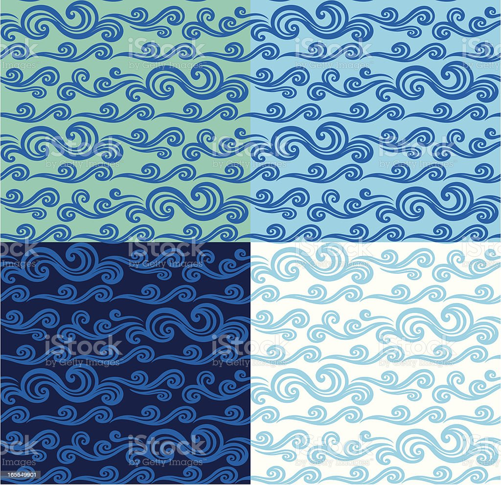 Seamless Pattern - Scroll Waves, Blue/Green royalty-free stock vector art