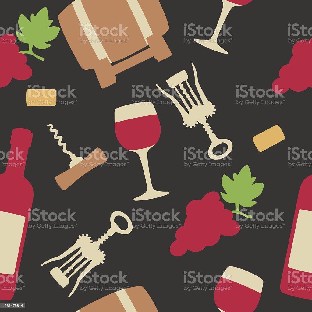 Seamless pattern set wine icon. Bottle, glass of wine, cork vector art illustration