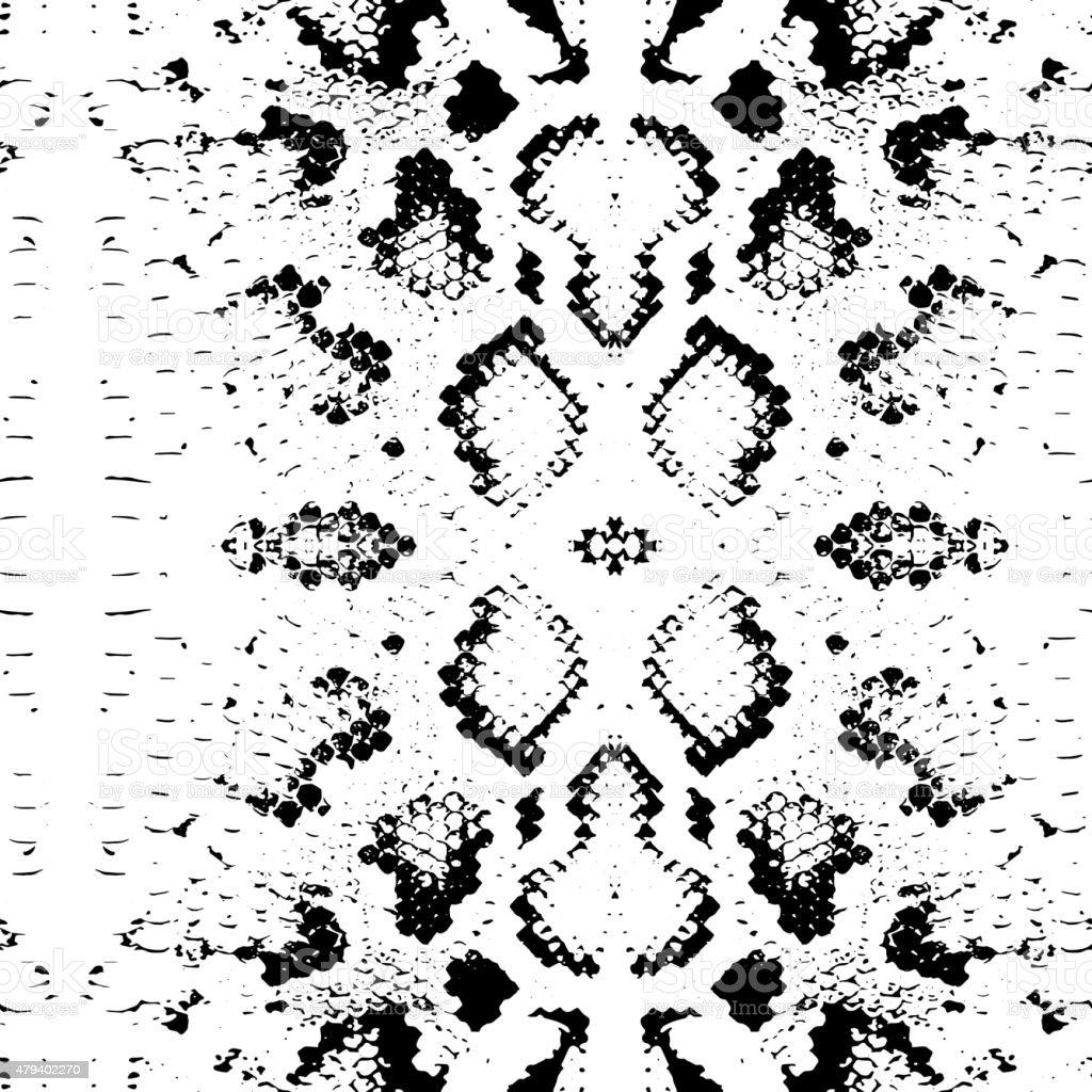 Seamless pattern Snake skin texture. black on white background. Vector vector art illustration