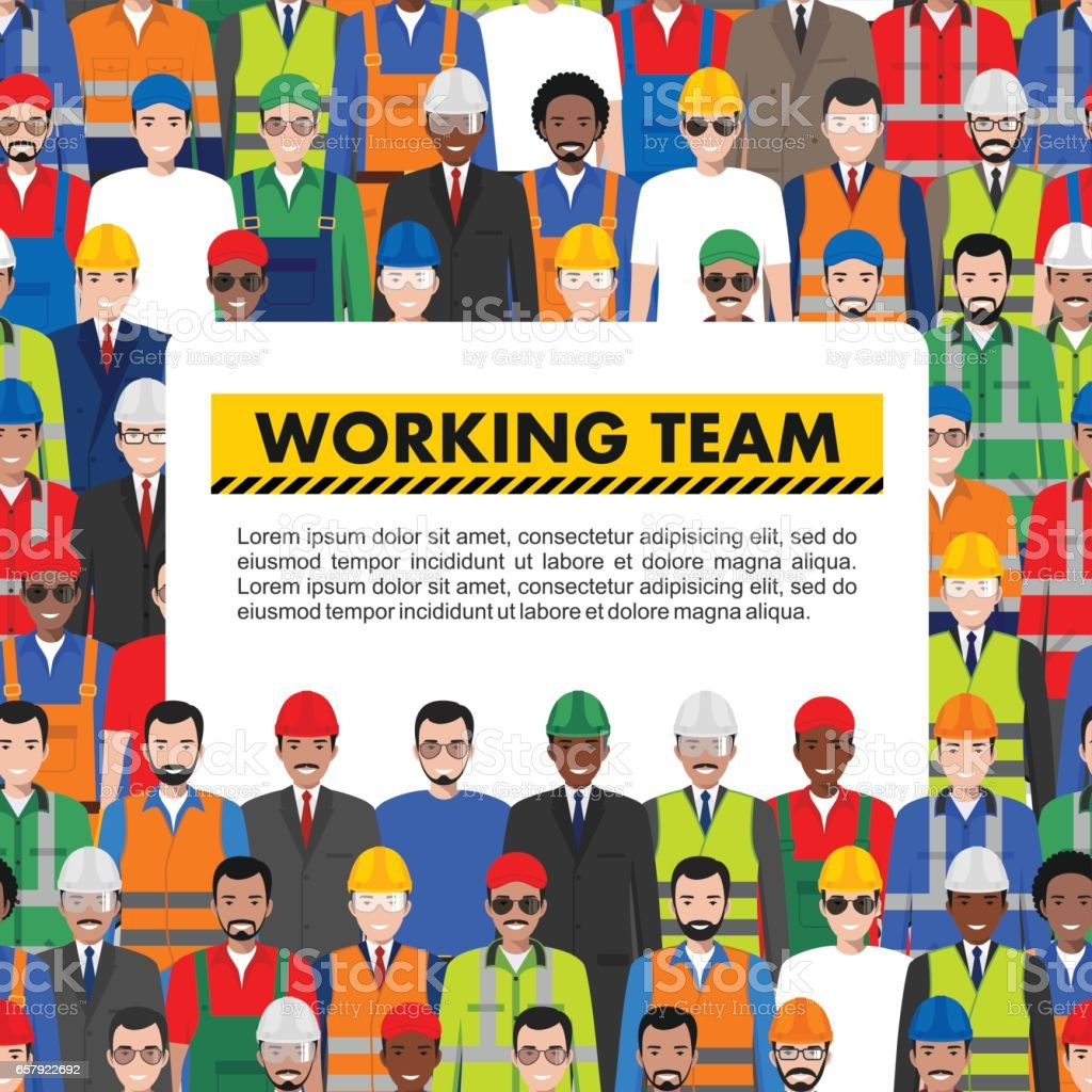 Seamless pattern social, teamwork and working team concept of people communication in flat style. Group of workers, builders and engineers standing together. Different nationalities and dress styles vector art illustration