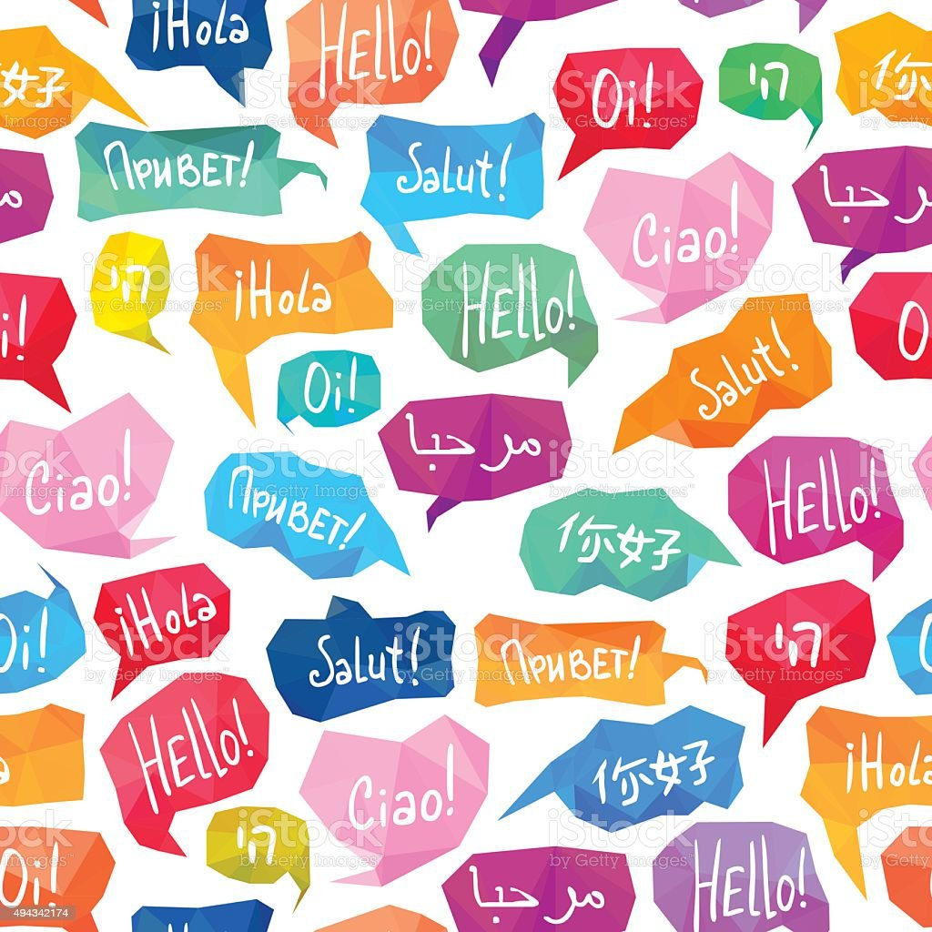 Seamless pattern - speech bubbles with 'Hello' on different languages vector art illustration
