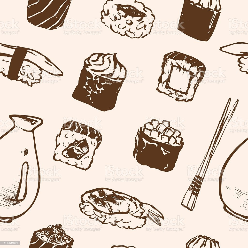Seamless pattern Sushi rolls and japanese seafood l with salmon vector art illustration