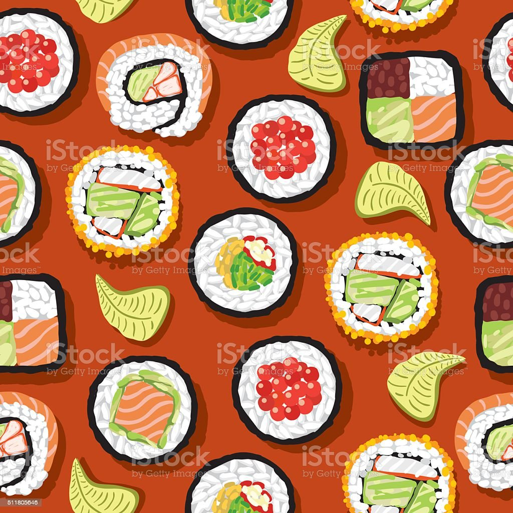 Seamless Pattern Sushi vector art illustration
