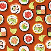Seamless Pattern Sushi