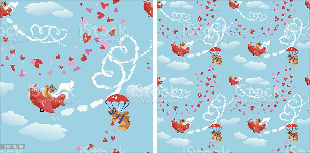 Seamless pattern. Teddy bear aviators in love. royalty-free stock vector art
