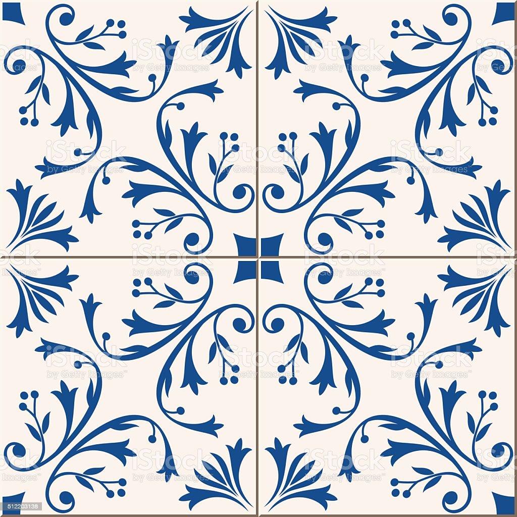 Seamless  pattern .  Turkish, Moroccan, Portuguese  tiles, Azulejo, ornaments.  Islamic Art. vector art illustration
