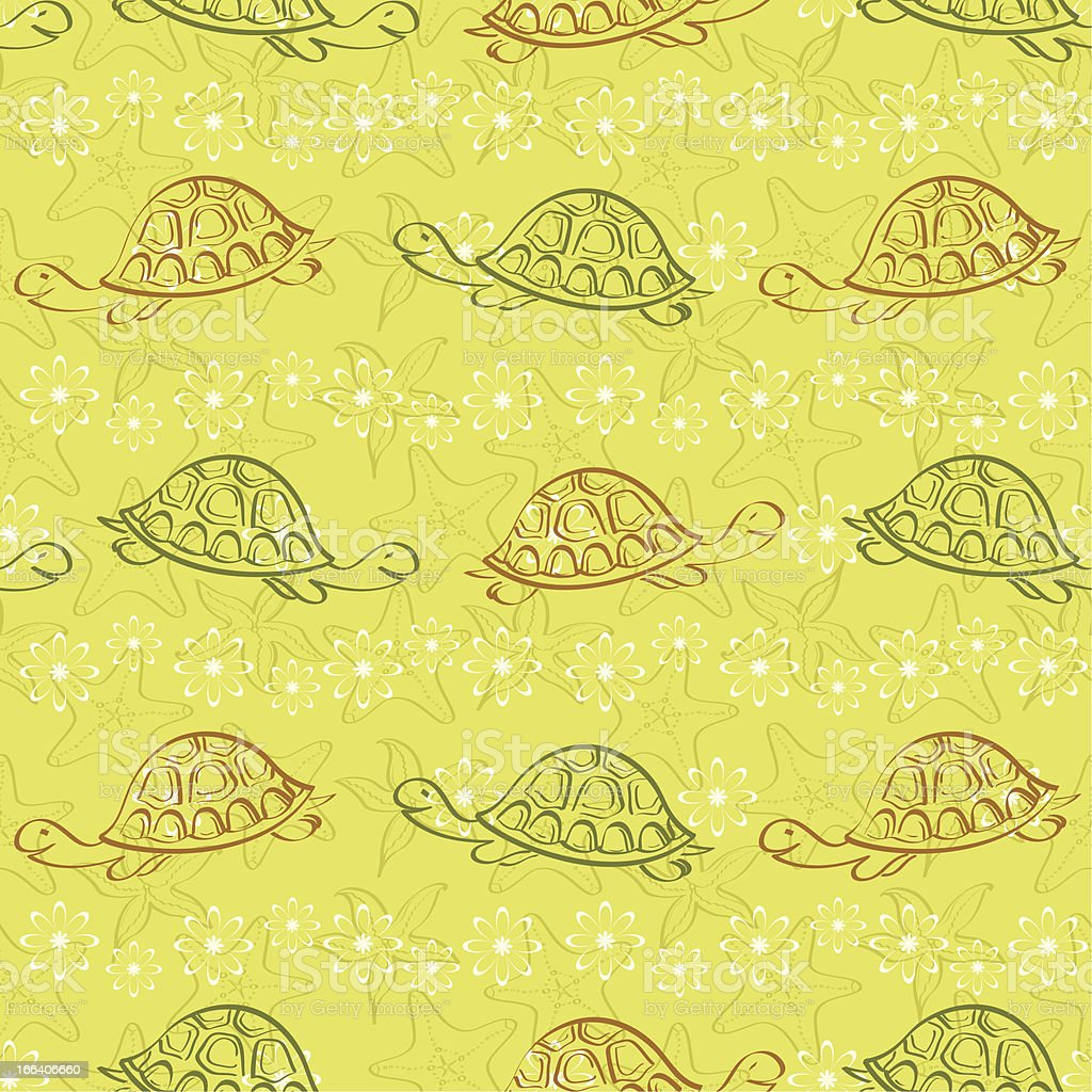 Seamless pattern, turtles and starfishes royalty-free stock vector art