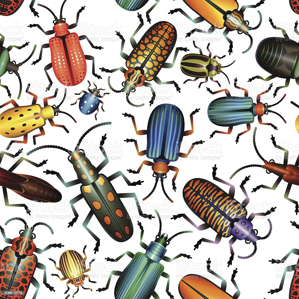 Seamless Pattern Various Bugs and Beetles vector art illustration