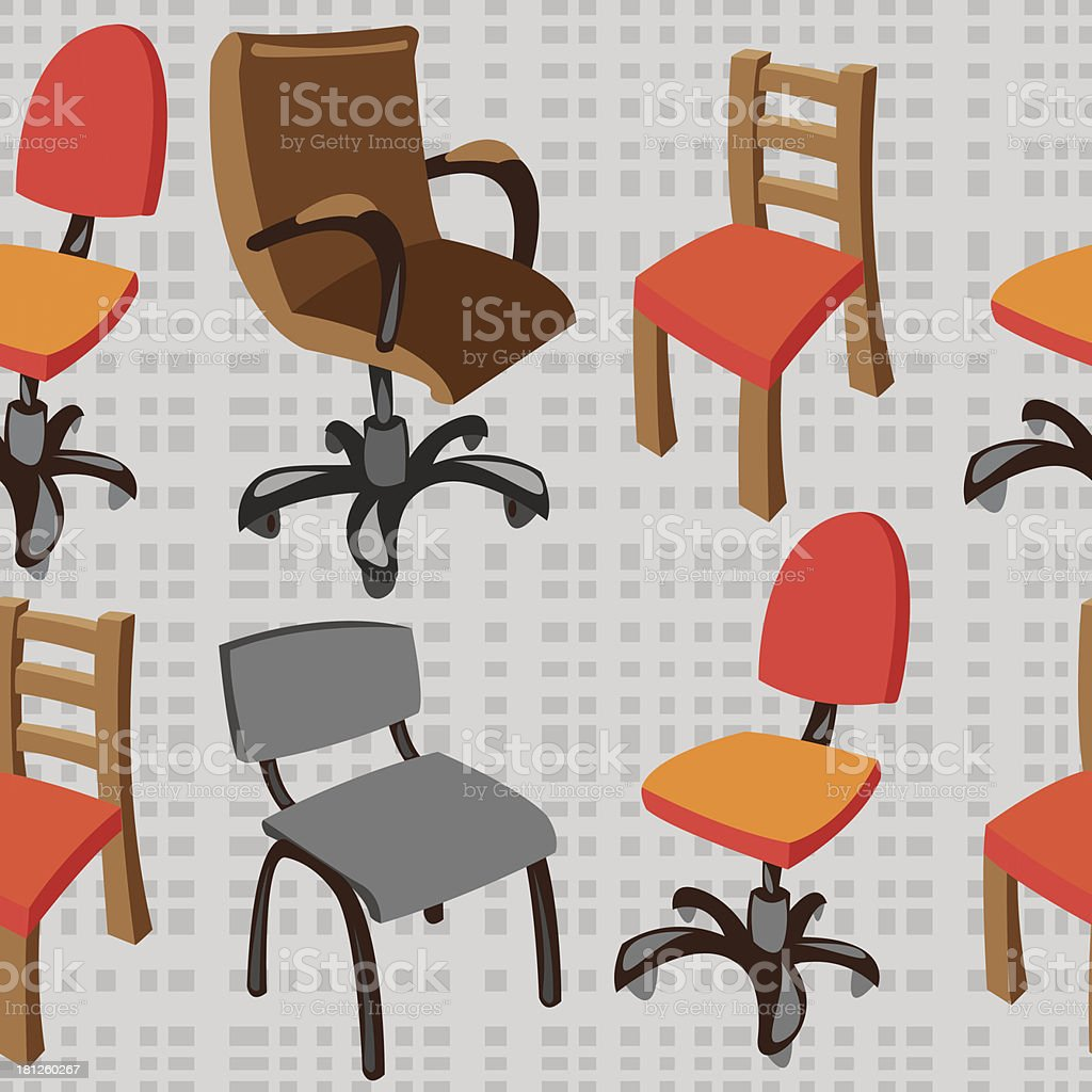 seamless pattern vector chairs on gray background royalty-free stock vector art