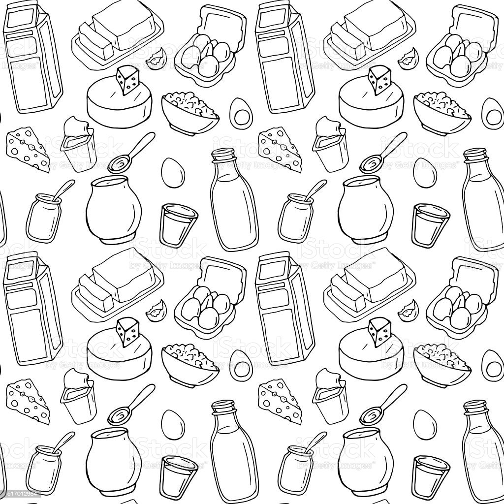 Seamless pattern. Vector dairy products vector art illustration
