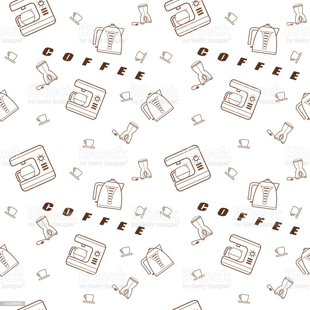 Seamless pattern vector kitchen icons vector art illustration
