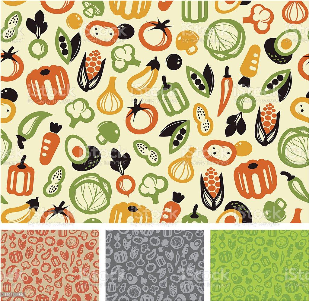 Seamless pattern - vegetable vector art illustration