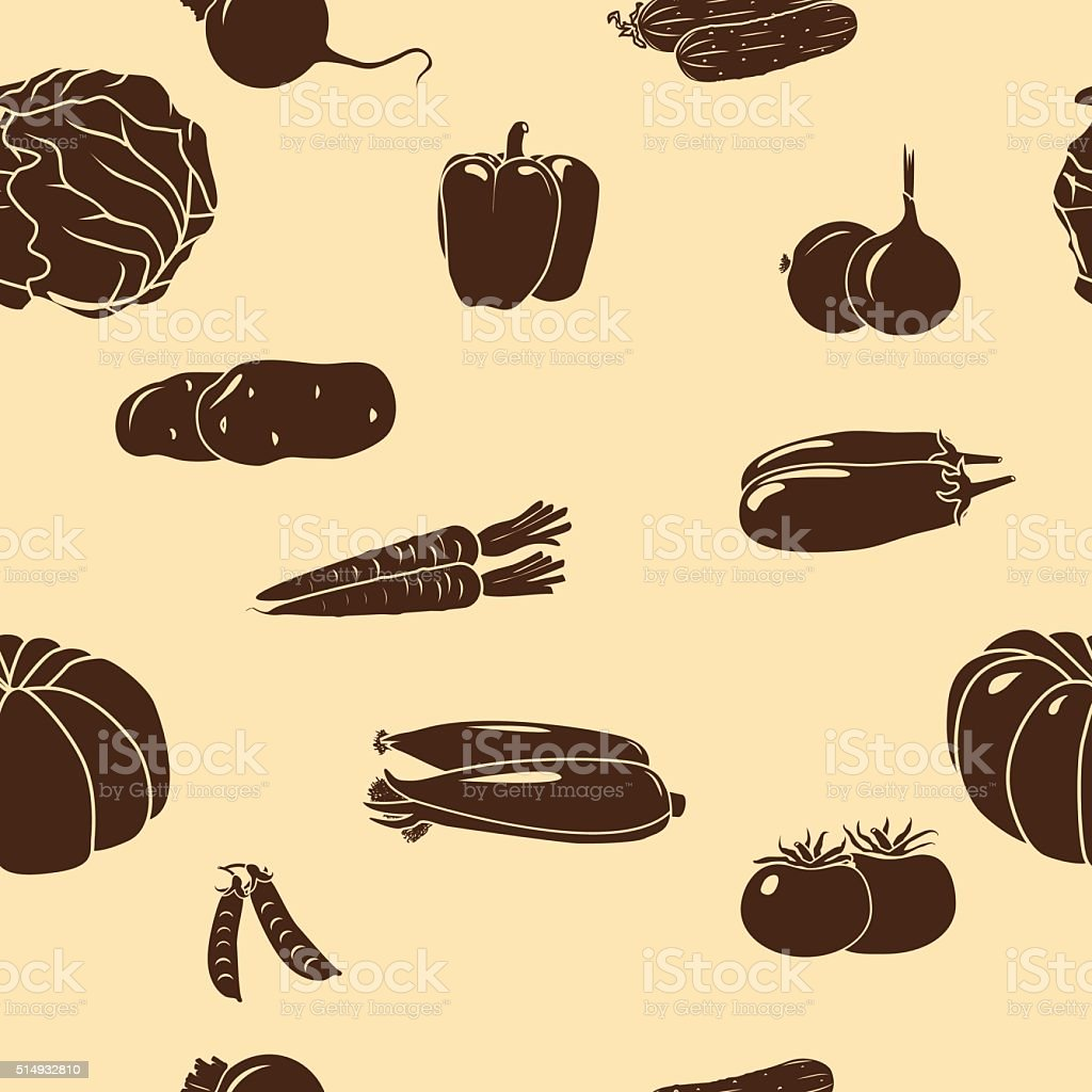 seamless pattern vegetables silhouettes vector art illustration