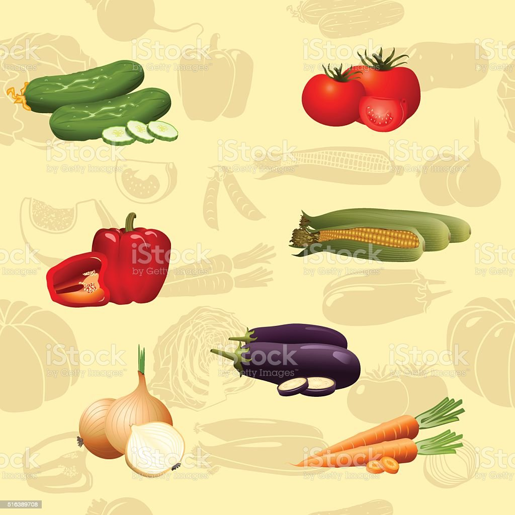 seamless pattern vegetables vector art illustration