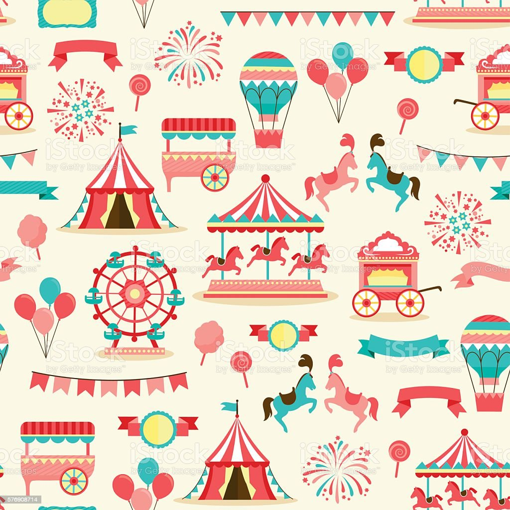 seamless pattern - vintage carnival vector art illustration