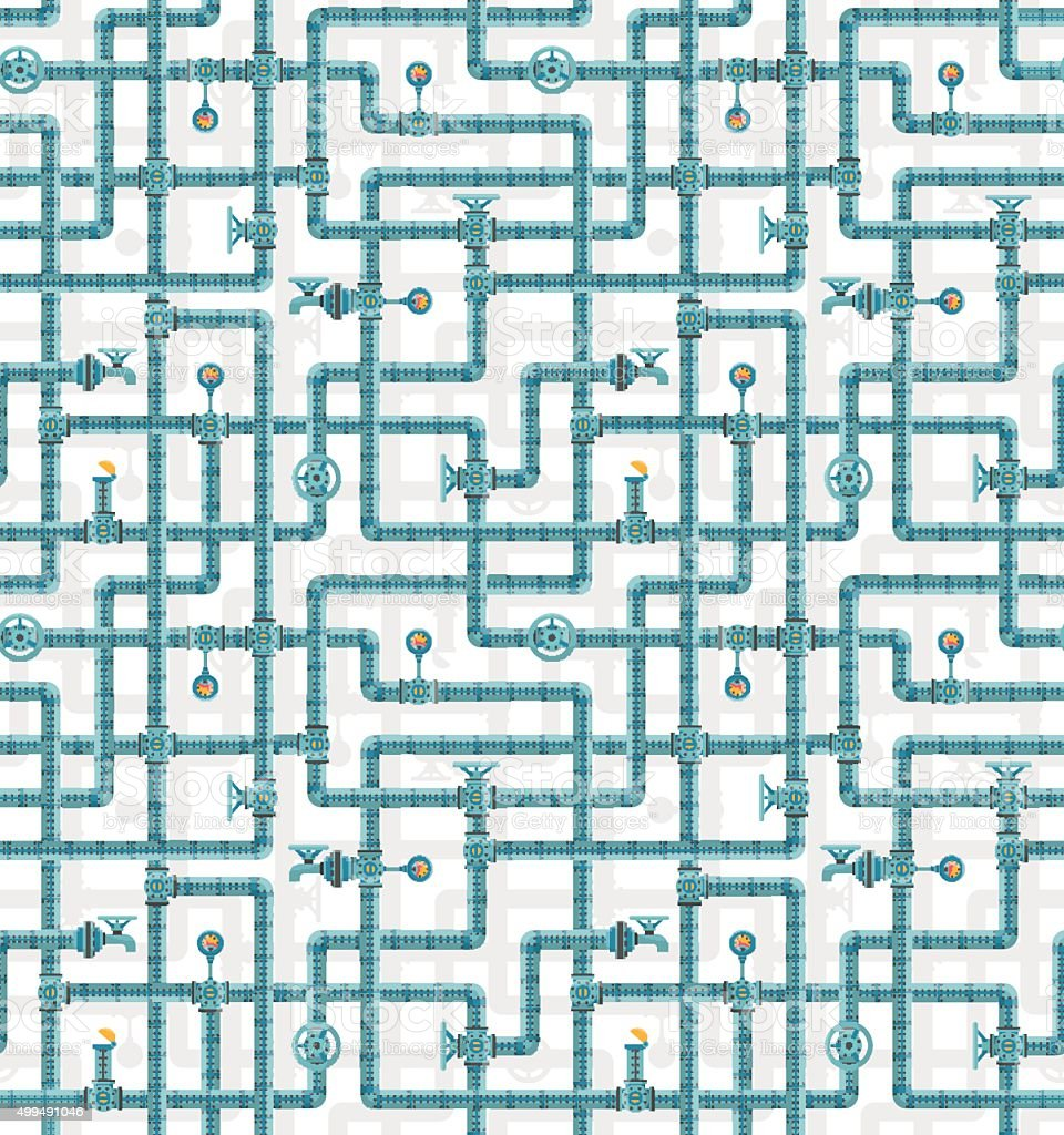Seamless pattern water pipes vector art illustration