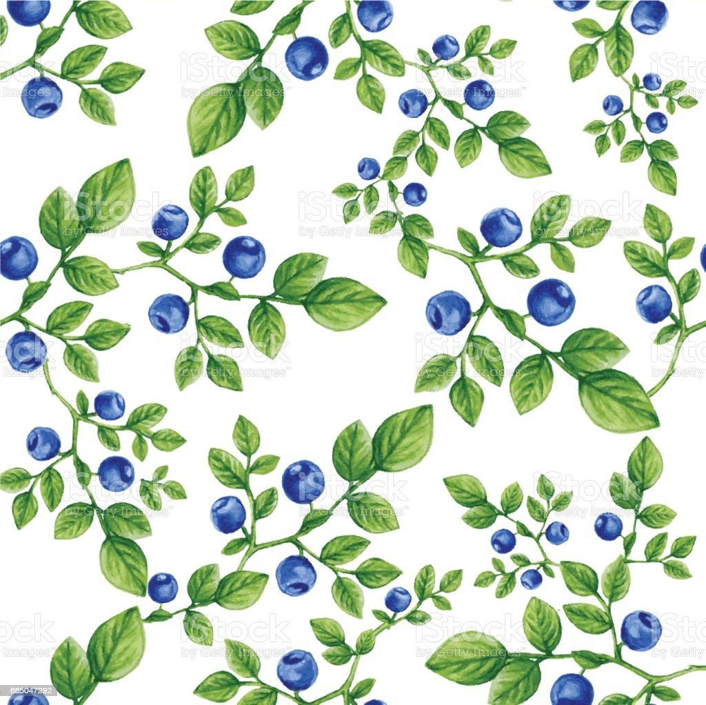 Seamless Pattern Watercolor Blueberry Paint Vector Illustration