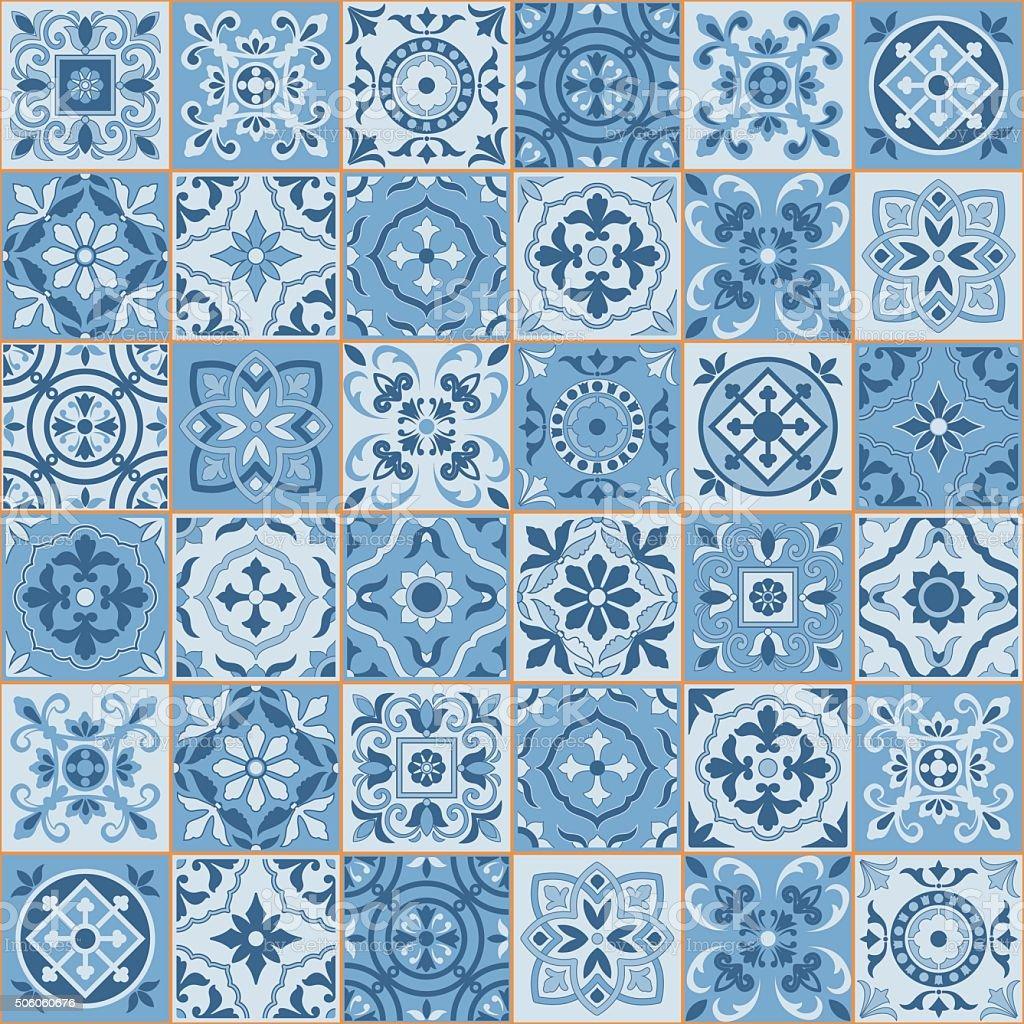Seamless  pattern  white sereniti color Moroccan, Portuguese  tiles, Azulejo, ornaments. vector art illustration