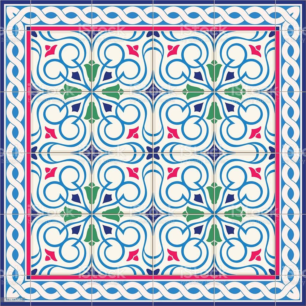 Seamless  pattern  white Turkish, Moroccan, Portuguese  tiles, Azulejo, Arabic ornament. vector art illustration