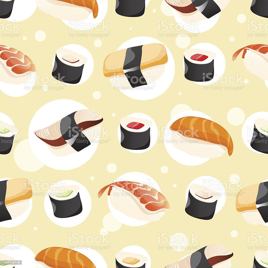 Seamless Pattern wihh different sushi royalty-free stock vector art