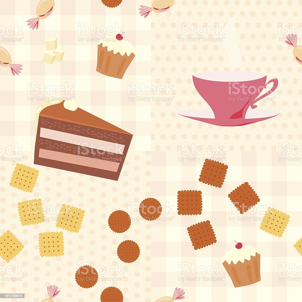 seamless pattern with a cup of tea and cookies vector art illustration