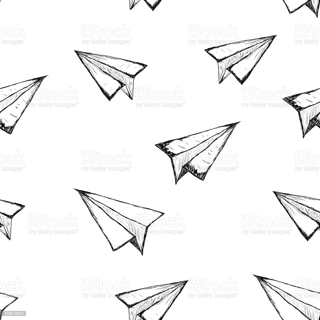 Seamless pattern with a paper airplane on a white background vector art illustration