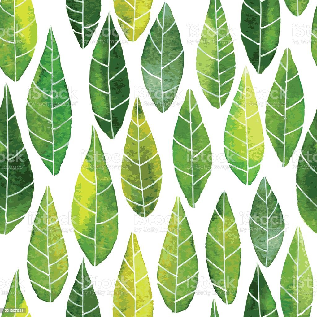 seamless pattern with abstract green leaves vector art illustration