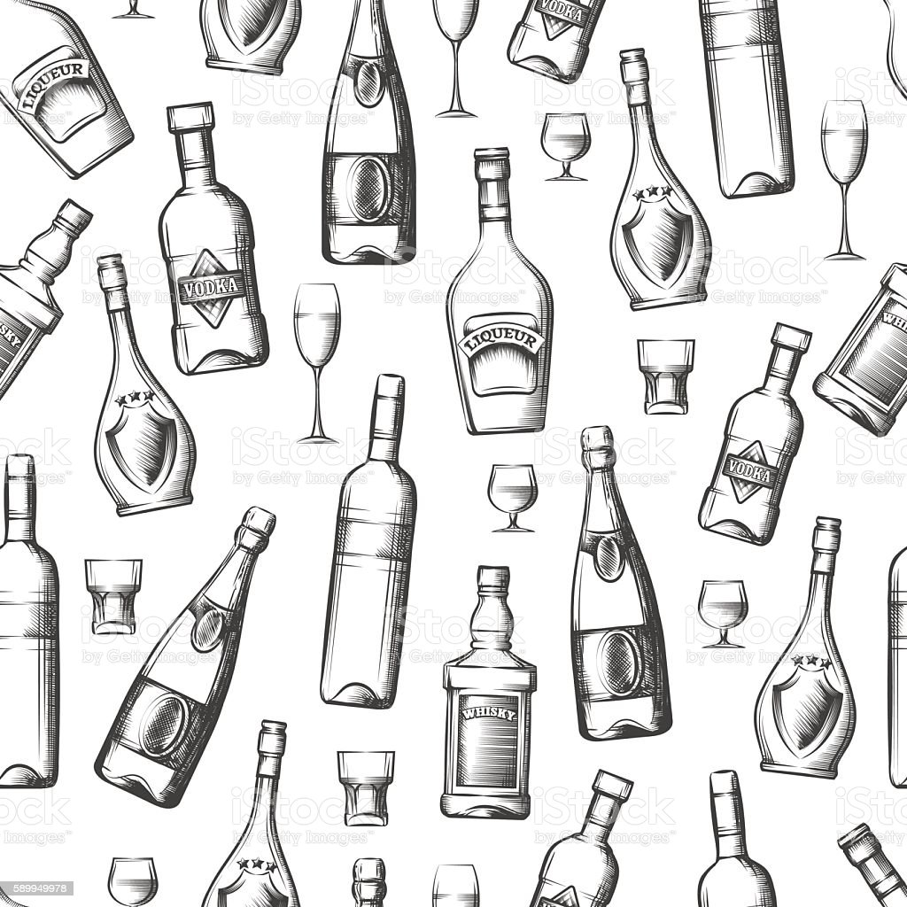 Seamless pattern with alcoholic drinks vector art illustration