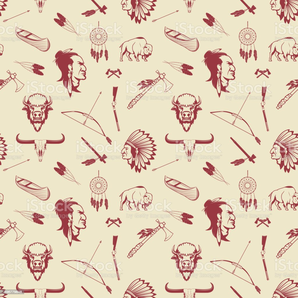 Seamless pattern with american Indian heads, weapon. vector art illustration