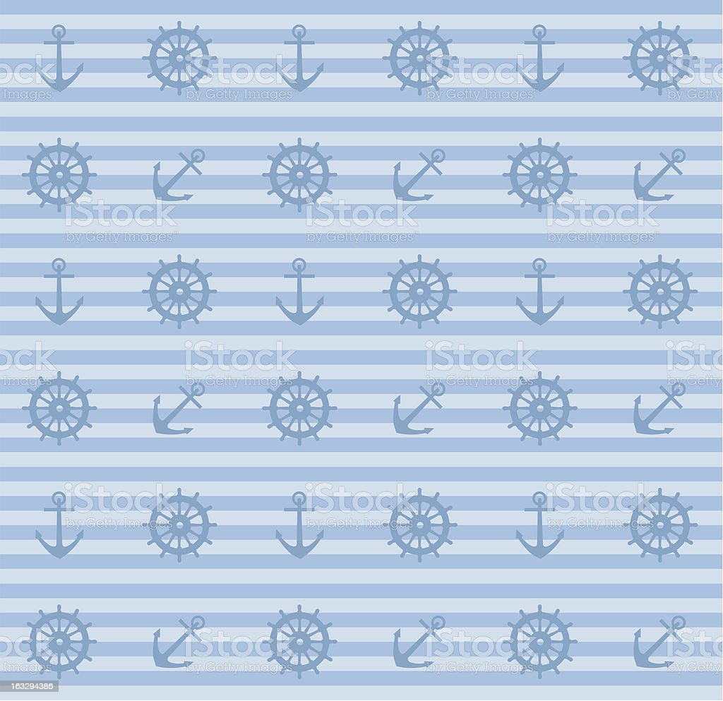 seamless pattern with anchors and steering wheels royalty-free stock vector art