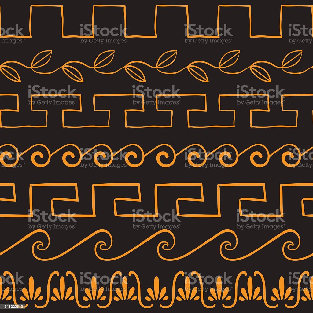 Seamless pattern with ancient greek ornaments vector art illustration