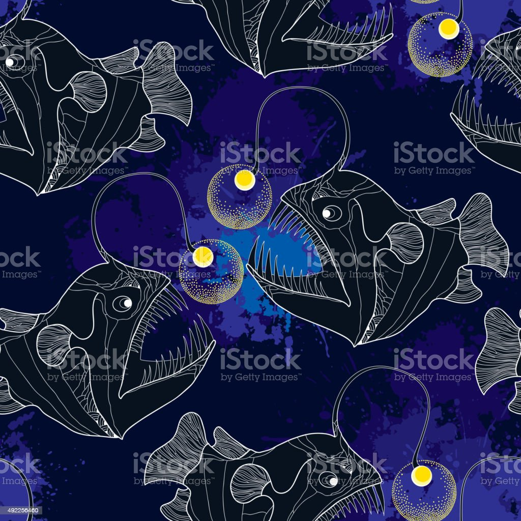 Seamless pattern with Angler fish or monkfish and blue blots vector art illustration
