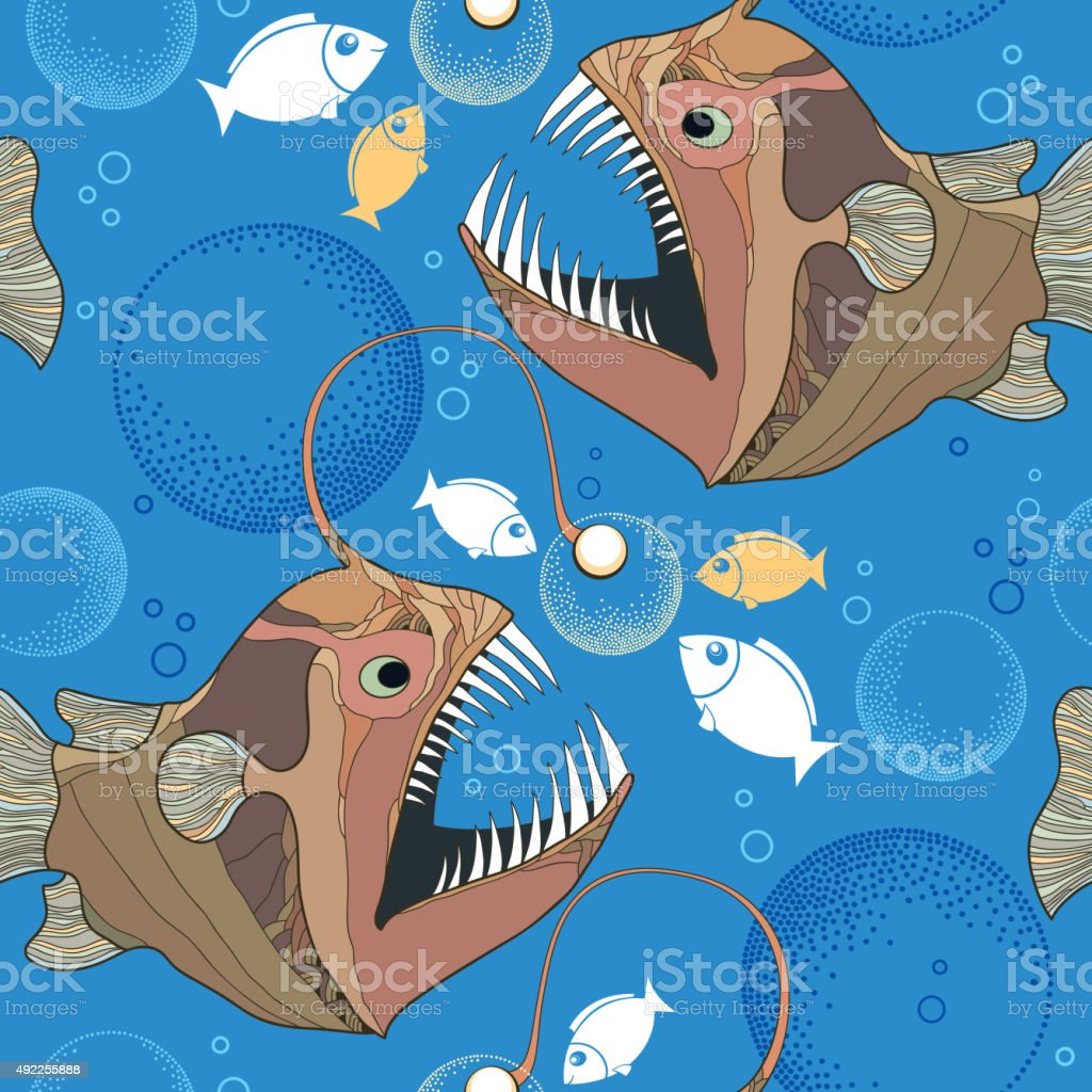 Seamless pattern with Angler fish or monkfish and bubbles vector art illustration