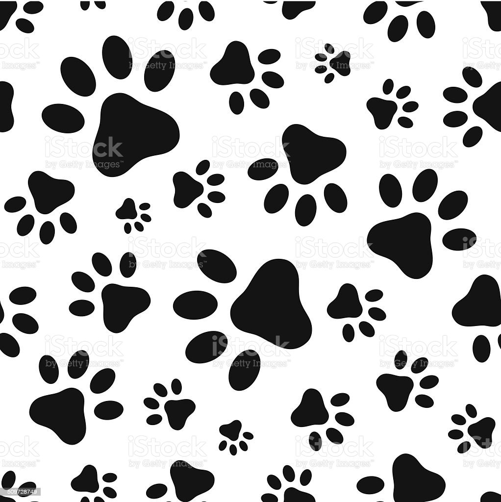 Seamless pattern with animal paws footprints. Vector illustration. vector art illustration